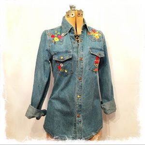 Tops - Beautiful Embroidered Denim Shirt